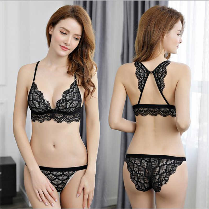 231b44d84e8 HGHISYU Sexy Lace Bra Wireless Open Bras Set For Women Push Up Cup  Embroidery Plus Size