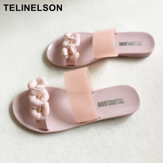 242ef35cf33a Women Cute Transparent Crystal Jelly Sandals Cool Pink Lady Beach Flip Flops  Female Flower Casual Slippers Hot Sale 3 pairs
