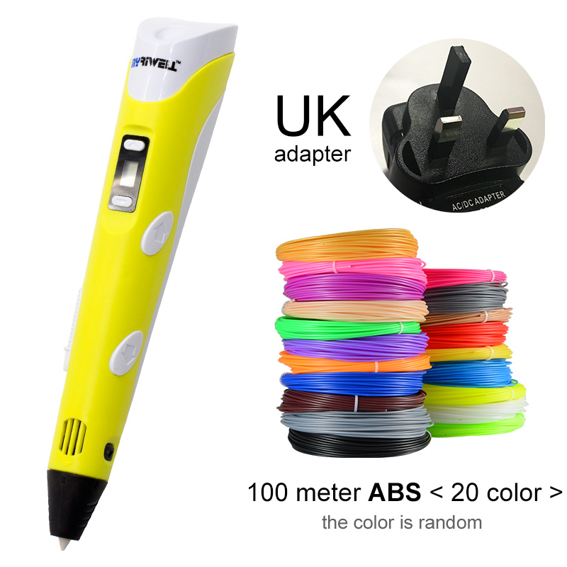 Myriwell, 3D ручка, светодиодный экран, сделай сам, 3D Ручка для печати, 100 м, ABS нити, креативная игрушка, подарок для детей, дизайнерский рисунок - Цвет: Yellow UK-100m ABS