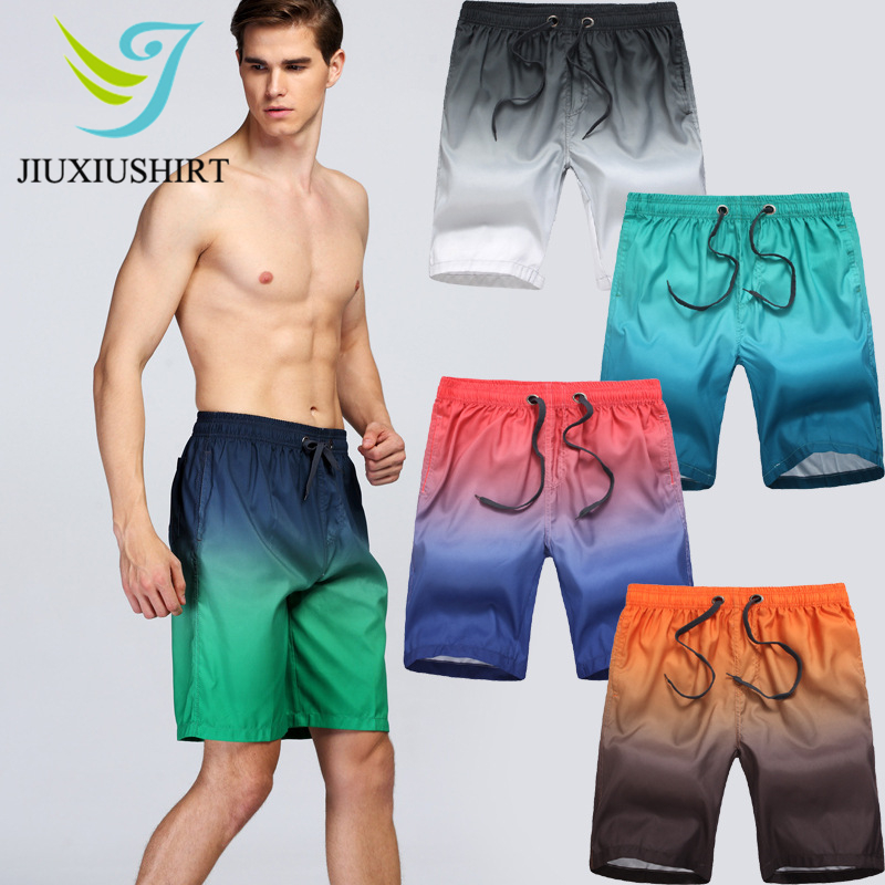 Quick Dry Men Summer Gradient Beach Shorts Surf Swimwear Board Shorts Sportswear Male Athletic Running Gym Shorts Swimsuit L-3XL