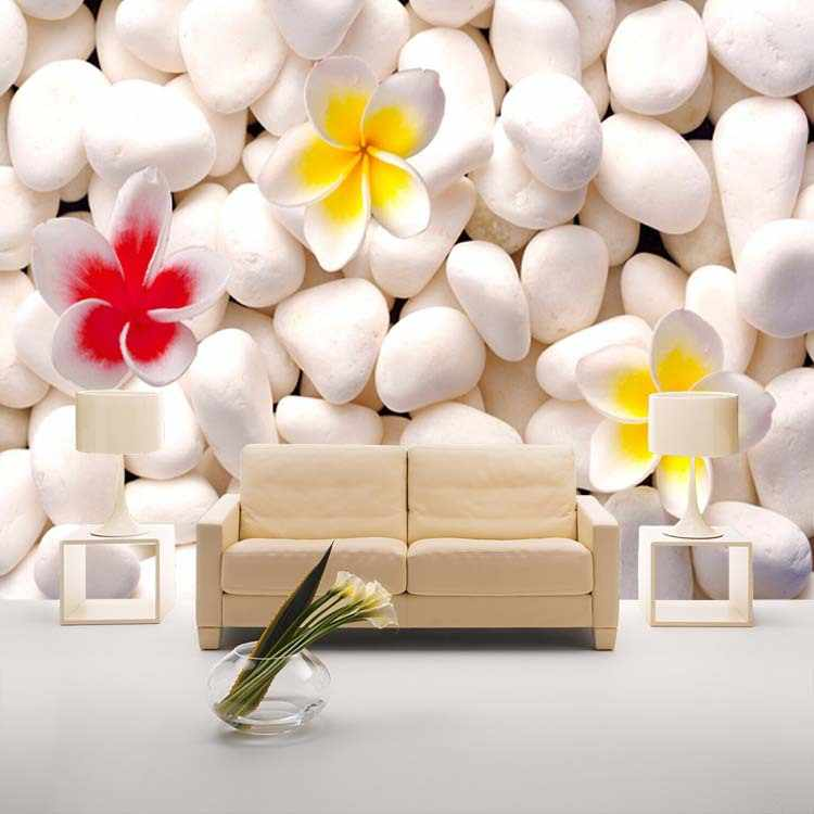 Beautiful Flowers And Stones Wallpaper Nature Photo Wallpaper Wall Mural 3d Wall Art Room Decor Ceiling Bedroom Home Decoration Wallpaper Wall Murals Wall Mural 3dmural 3d Aliexpress