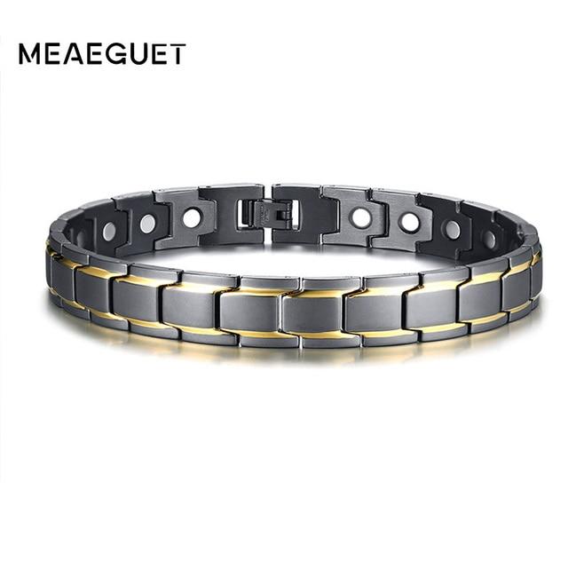 Fashion Ankle Men Bracelet Magnet Bio Energy Stainless Steel Adjule Designer Medical Therapy Arthritis Male Leg