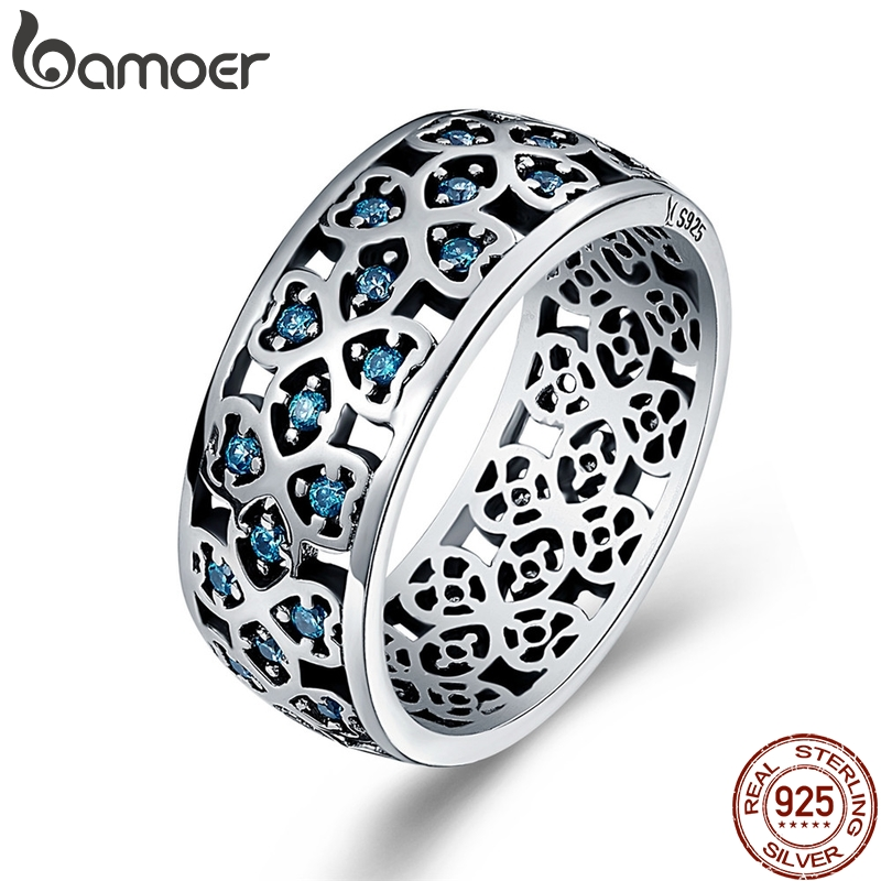 BAMOER 100% 925 Sterling Silver Petals of Love Sweet Clover Blue CZ Finger Rings for Women Engagement Jewelry S925 Gift SCR064