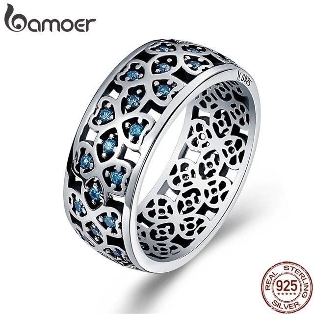 BAMOER 100% 925 Sterling Silver Petals of Love Sweet Clover Blue CZ Finger Rings