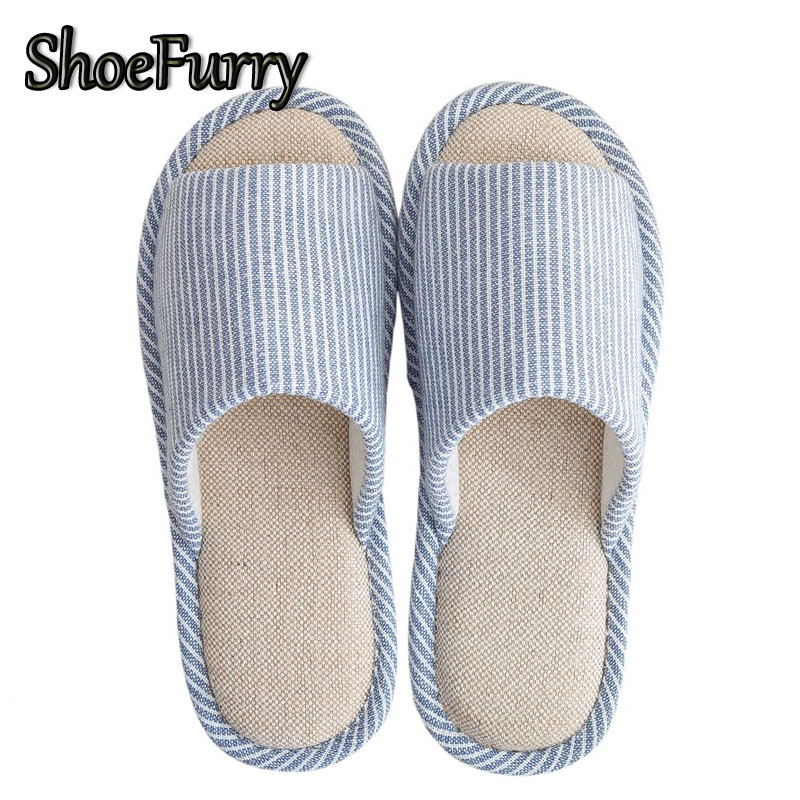 ShoeFurry Summer Sandals Beach Shoes Men Flax Indoor Home Slippers Breathable Sweat Linen Slippers Man Antiskid Bedroom Slippers