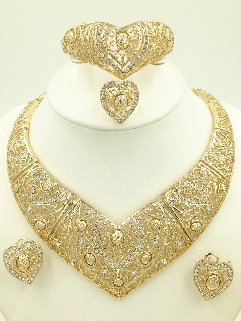 New 2016 Fashion Dubai Gold Plated Jewelry Set 18K Luxury Nigerian