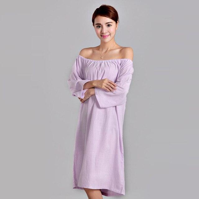 Moda Nuevos Camisones Para Las Mujeres falda Larga de algodón Cuatro Temporadas De Baño boob tubo superior femenina Ropa de Dormir Camisón femenino bata