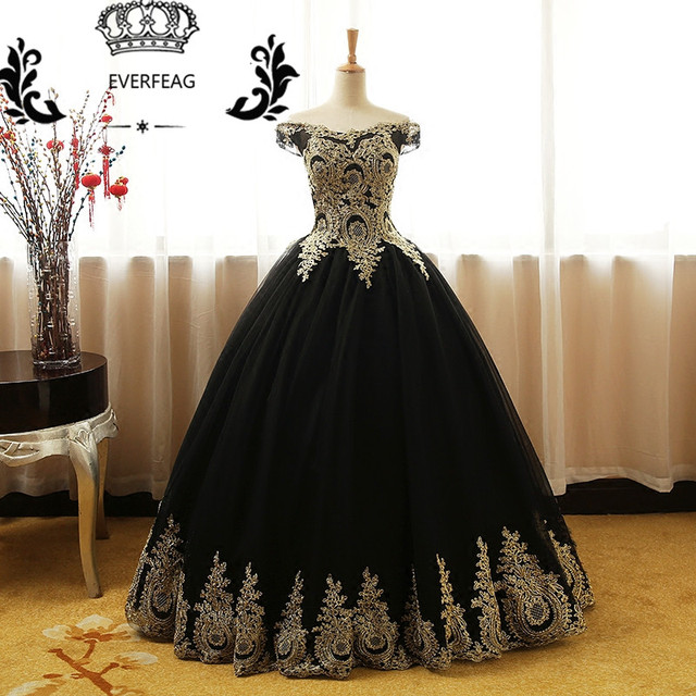 New Elegant Ball Gown Prom Dresses Long Gold Lace Applique Black Tulle  Corset Evening Party Dress ad243785c45c
