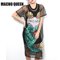 2016 Summer Women Sexy Street Fashion Dress Black Cartoon Mermaid Sequins Mesh Dress Perspective Dress
