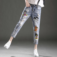 Fashion Youth Mickey Mouse Jeans Printed Loose Vingtage Distressed Boyfriend Jeans Ripped Women Curvy Cropped Harem Denim Pants