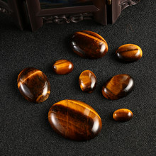 1PC Yellow Tiger Eye Cabochon Bead Natural Stone CAB No Hole Fit DIY Handicrafts Reiki Jewelry Ring Bracelet Necklace Ornaments(China)