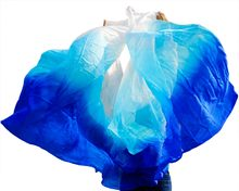 2017 New Design 100% silk veil belly dance veil Tarifa perut kostum 250 * 114 cm Sapphire royal blue + sky blue + white