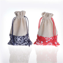 10Pcs/lot Wholesale 13*10cm Drawable Cotton Linen Christmas Wedding Gift Bags Jewelry Candy Packing Bags&pouch