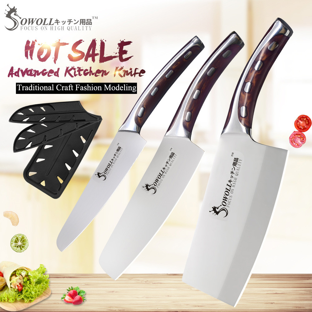 SOWOLL Cleaver Knife Blade Chef Stainless-Steel Kitchen Super-Sharp Comfortable-Handle