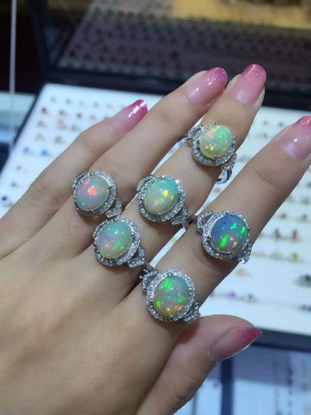 Natural Transparent opal Ring Natural gemstone Ring S925 sterling silver trendy Luxury Triangle women party gift Jewelry new multifunction body massage electric muscle stimulator acupuncture neck back massager tens therapy massage pad relaxation