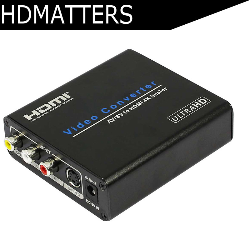 HDmatters composite RCA Av to HDMI UHD Converter scaler with S video inputs up to 4kX2k&1080P output supported