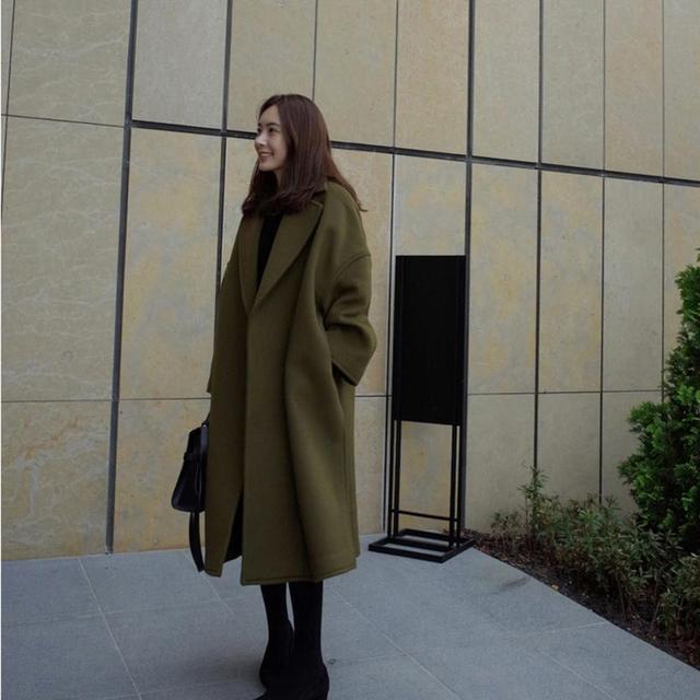 Moda Invierno Mujeres X Largo Outwear Abrigo con cinturón de Lana manteau femme Increíble 2016 Nuevo