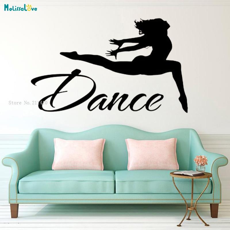 Dance Wall Decal Quote Dancer Jump Silhouette Vinyl Decals Stickers Girls Bedroom Ballet Studio Art Home Decor Removable Yt1300 Durable Service Home & Garden