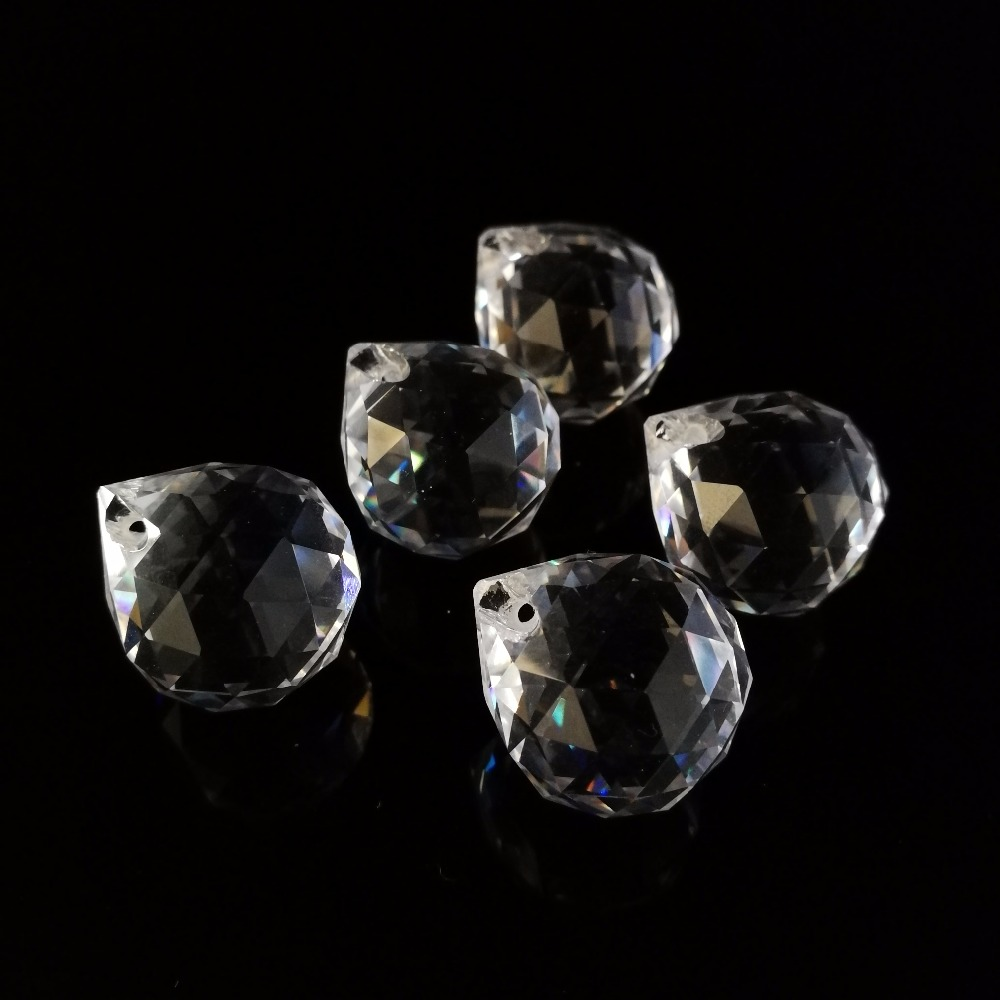Clear 10pcs, 15mm Crystal Chandelier Balls Crystal Faceted Balls Crystal Glass Feng Shui Balls Hanging Decoration Free Shipping
