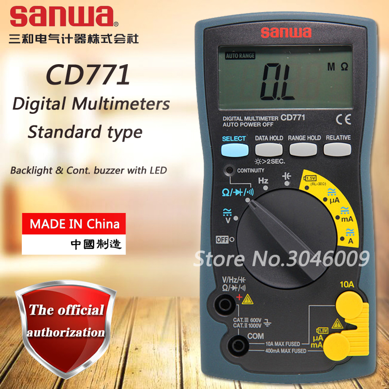 sanwa CD771 Standard Digital Multimeter Battery Check Backlight Resistor Capacitor On Off Buzzer Diode Frequency Measurement