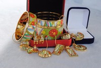 019 Cloisonne enamel jewelry European and American style 4pcs sets