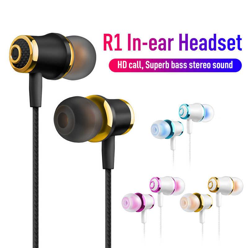 R1 3.5 مللي متر Wied تصفيح ضبط ضياع سماعة أذن داخلية باس الحد من الضوضاء سماعات عالية الدقة سماعة الأذن قطع آيفون