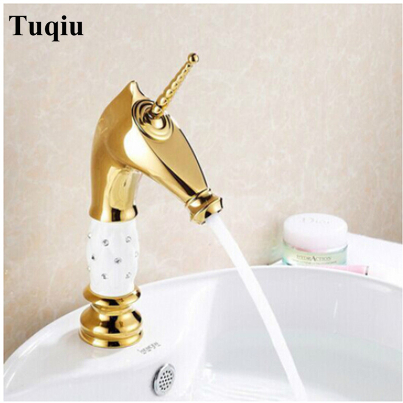 Basin Faucets Brass Gold Deck Bathroom Sink Faucet Single Handle Euro Luxury Horse Head Diamond Bath Vanity Mixer Water Tap basin faucets brass gold deck bathroom sink faucet single handle euro luxury horse head diamond bath vanity mixer water tap 818k