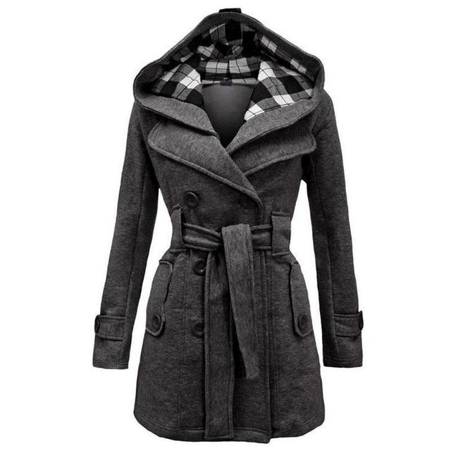 Mulheres de Forma Magro Trincheira Inverno 2016 Double Breasted com Cinto bolsos Xadrez Longa Com Capuz Moletom Com Capuz Plus Size 3XL 6 Cores sobretudo