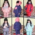 Ropa infantil niños Bebés Niñas Invierno Abajo Niños de la Capa Caliente Chaquetas Niño Traje Para La Nieve Abrigos Coat + Ropa de Las Bragas + bufanda