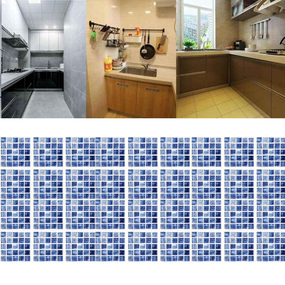 - 6Pcs/Set 3D Blue Mosaic Self Adhesive Wall Tile Sticker Bathroom