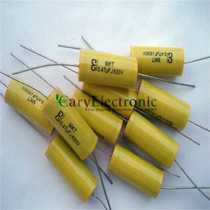 Image 2 - Wholesale and retail long leads yellow Axial Polyester Film Capacitors electronics 0.47uF 630V fr tube amp audio free shipping