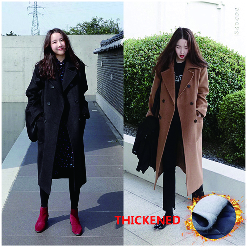 2018 Autumn and winter new style ladies casual business wool coat Slim double breasted long woolen