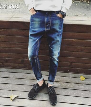 Free Shipping!  Personality Man jeans Nine Points Jeans The Trend Of the Literary Men's Trousers Ln sUmmer  28--36 the rise of nine