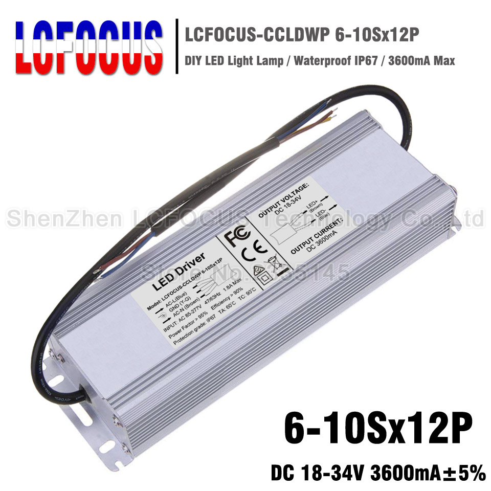 120W LED Driver 6-10Sx12P Waterproof 3600mA 18-34V For 72 84 96 108 120 W <font><b>Watt</b></font> COB LED Chip Lighting Transformers <font><b>Power</b></font> <font><b>Supply</b></font> image