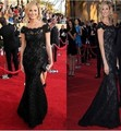 Celebrity Black Vintage Whole Lace Evening Dresses Red Carpet Short Sleeve Formal Pageant Long Dresses Oscar Christmas Dresses