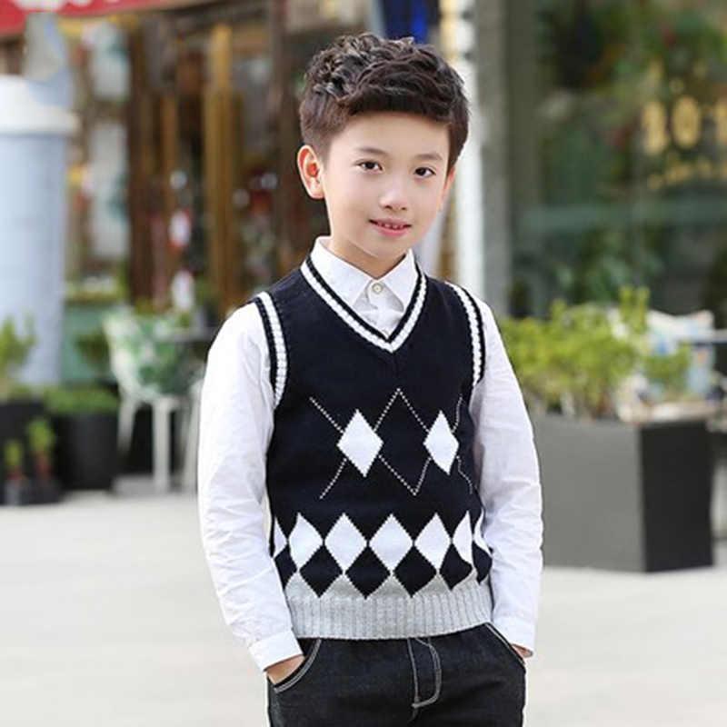הנערים בנות בית ספר סגנון אפוד סתיו חורף כותנה חם בגדי ילדים סרוגים אפוד שרוולים סוודר חזיית 4-16 שנים