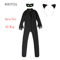 New Miraculous Ladybug Black Cat Noir Adrien Agreste Suit Cosplay Kids Costume 3pcs Set Eye Mask