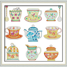 Tea set (2) cross stitch kit cup cartoon kitchen Pattern printed on ca