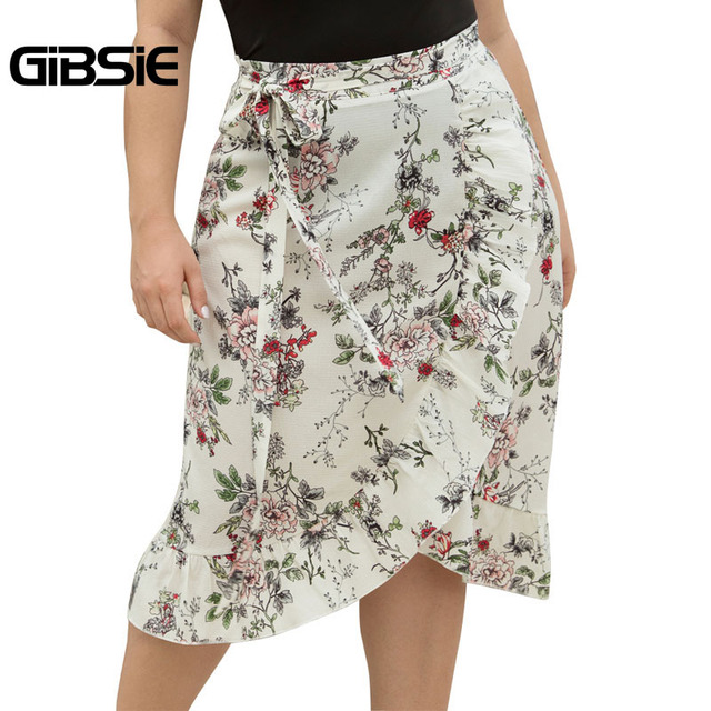 GIBSIE Plus Size Women Knee Length Ruffle Skirt Elegant Floral Print Midi Skrits Womens Summer Casual High Waist Skirt with Belt 5