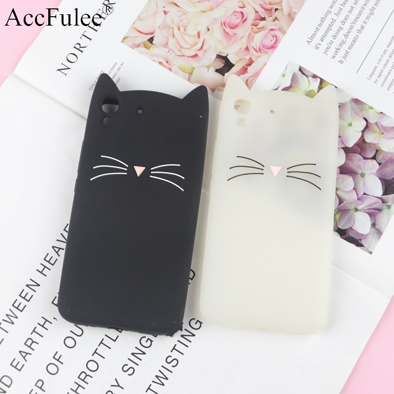 3D Cartoon Glitter Cat Silicone Phone Case for Huawei Y6 Honor 4A Ears Bearded Cat Soft Cover