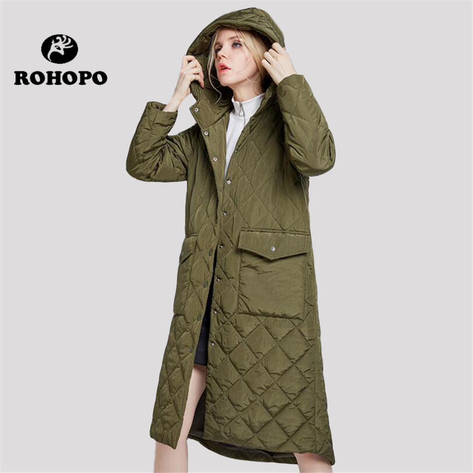 Women's Clothing Logical Rohopo Winter Thickness Parka Coat Women,,black Hooded Collar Female Straight Keep Warmly Parkas Long Jacket Woman Casual Coats We Take Customers As Our Gods