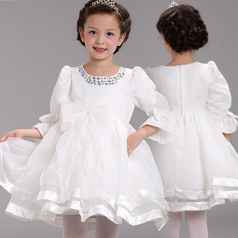 Fancy White Girls Dress Party Birthday wedding princess Toddler baby Girls Clothes Children Kids Girl Long sleeve Dresses Q2 new 2017 baby girls ruffle sweater dress kids long sleeve princess party christmas dresses autumn toddler girl children clothes