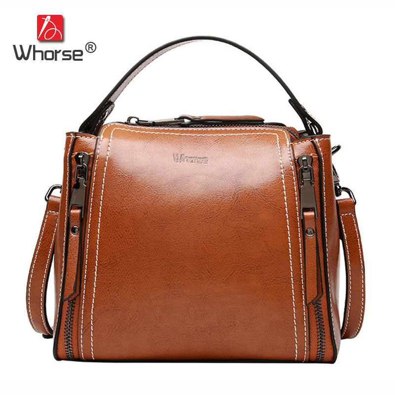 [WHORSE] Brand Vintage Casual Genuine Leather Handbag Women Small Mini Flap Bag Cowhide Womens Messenger Bags W09060