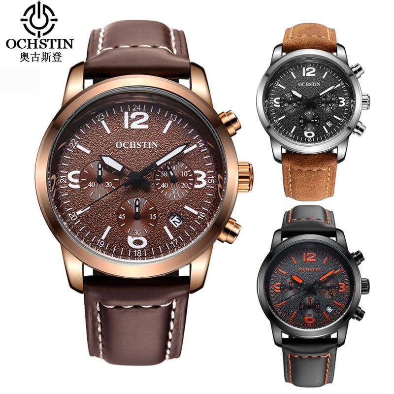 Relogio Masculino OCHSTIN Watch Men Luxury Brand Leather Date Chronograph Quartz Wrist Watch Military Watches Men Montre Homme