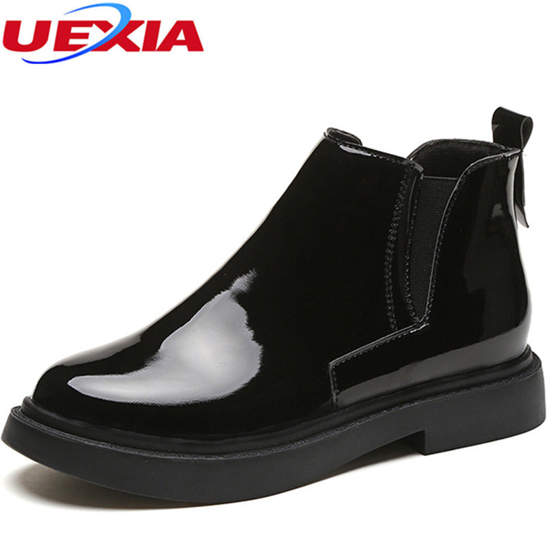 UEXIA Vintage Leather Women Shoes Female Spring Autumn Platform Ankle Boots Woman Shoes Casual Pointed Toe Flat Heels Elastic стоимость