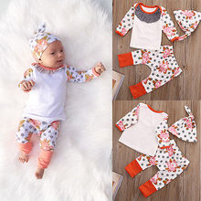 Cotton Flower Print Polka Dots Long Sleeve Tops+ Long Pant+Hat Outfits 3pcs 0-18M