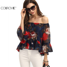 COLROVIE Spring New Arrival High Street Fashion Casual Style Multi Color Three Quarter Length Sleeve Floral Vintage Print Blouse