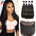 Brazilian Straight Hair With Frontal Closure 3 Bundles With Frontal Closure Brazilian Hair Weave Bundles With Lace Frontal