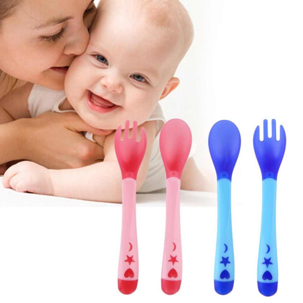 Baby Temperature Sensing Spoon and Fork Safety Silicone Feeding Flatware Baby Feeder Utensils Feeding Spoon Tableware Home