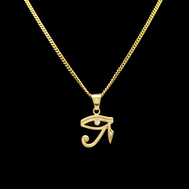 316l stainless steel gold color egyptian the eye of horus pendant 316l stainless steel gold color egyptian the eye of horus pendant necklace hip hop wedjat eye mozeypictures Image collections